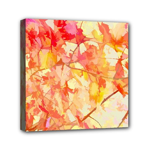 Monotype Art Pattern Leaves Colored Autumn Mini Canvas 6  X 6  by Amaryn4rt