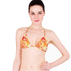 Monotype Art Pattern Leaves Colored Autumn Bikini Top
