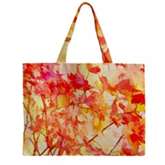 Monotype Art Pattern Leaves Colored Autumn Zipper Mini Tote Bag