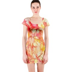 Monotype Art Pattern Leaves Colored Autumn Short Sleeve Bodycon Dress