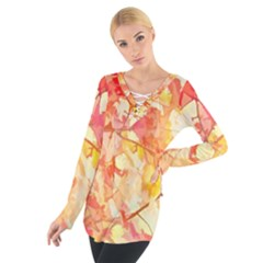 Monotype Art Pattern Leaves Colored Autumn Women s Tie Up Tee