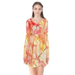 Monotype Art Pattern Leaves Colored Autumn Flare Dress