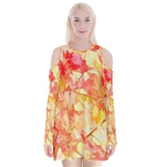 Monotype Art Pattern Leaves Colored Autumn Velvet Long Sleeve Shoulder Cutout Dress