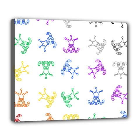 Rainbow Clown Pattern Deluxe Canvas 24  X 20