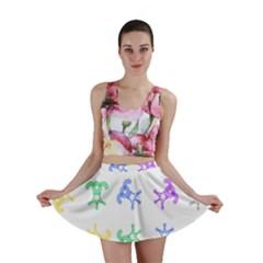 Rainbow Clown Pattern Mini Skirt