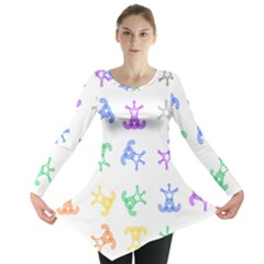 Rainbow Clown Pattern Long Sleeve Tunic