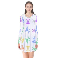 Rainbow Clown Pattern Flare Dress