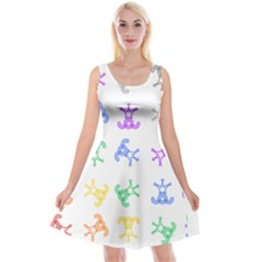 Rainbow Clown Pattern Reversible Velvet Sleeveless Dress