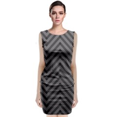 Background Gray Zig Zag Chevron Sleeveless Velvet Midi Dress