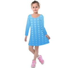 Blue Stars Background Kids  Long Sleeve Velvet Dress