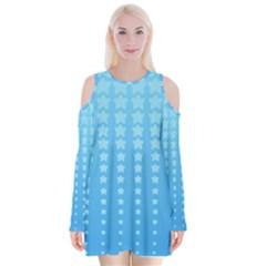 Blue Stars Background Velvet Long Sleeve Shoulder Cutout Dress