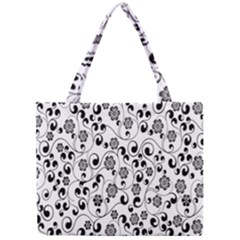 Black White Floral Mini Tote Bag by AnjaniArt