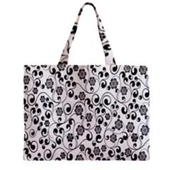 Black White Floral Zipper Mini Tote Bag by AnjaniArt