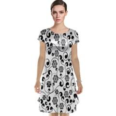 Black White Floral Cap Sleeve Nightdress