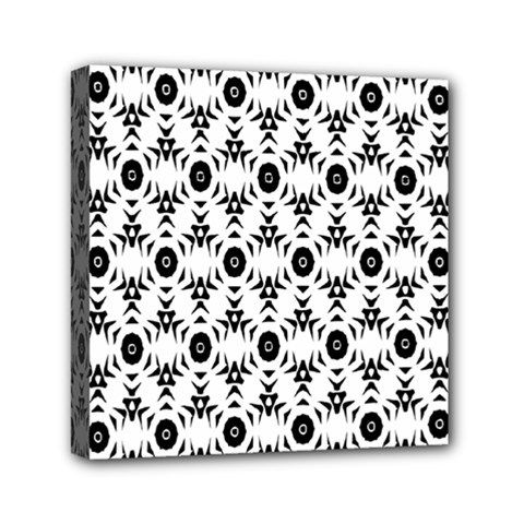 Black White Flower Mini Canvas 6  X 6  by AnjaniArt