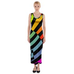 Casino Cat On The Verge Of Scratch Attack Fitted Maxi Dress by AnjaniArt