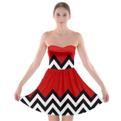 Chevron Red Strapless Bra Top Dress