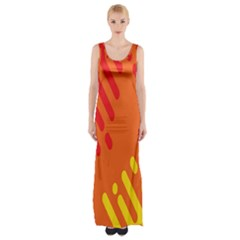 Color Minimalism Red Yellow Maxi Thigh Split Dress by AnjaniArt