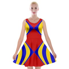 Concentric Hyperbolic Red Yellow Blue Velvet Skater Dress by AnjaniArt
