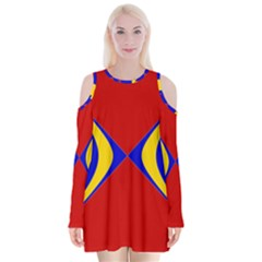 Concentric Hyperbolic Red Yellow Blue Velvet Long Sleeve Shoulder Cutout Dress