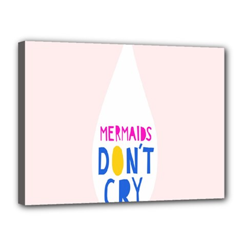 Dont Crt Fun Mermaids Pink Canvas 16  X 12  by AnjaniArt