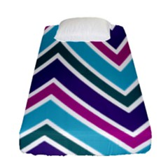 Fetching Chevron White Blue Purple Green Colors Combinations Cream Pink Pretty Peach Gray Glitter Re Fitted Sheet (single Size) by AnjaniArt