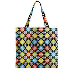 Diamond Argyle Pattern Flower Zipper Grocery Tote Bag by AnjaniArt