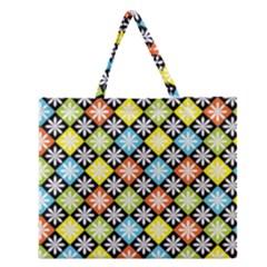 Diamond Argyle Pattern Flower Zipper Large Tote Bag by AnjaniArt