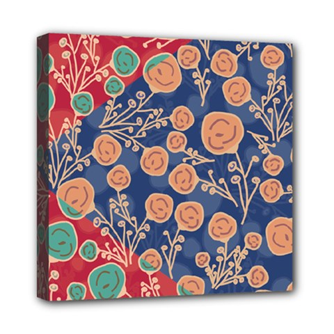Floral Red Blue Flower Mini Canvas 8  X 8