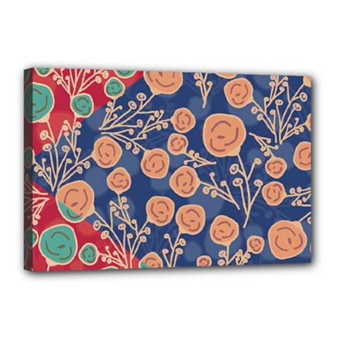 Floral Red Blue Flower Canvas 18  X 12