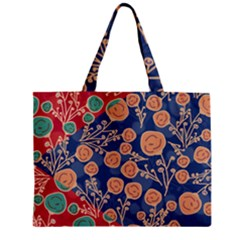 Floral Red Blue Flower Zipper Mini Tote Bag by AnjaniArt