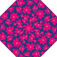 Flower Red Blue Folding Umbrellas by AnjaniArt