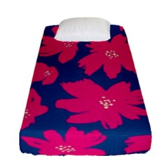 Flower Red Blue Fitted Sheet (single Size) by AnjaniArt