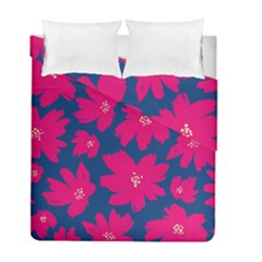 Flower Red Blue Duvet Cover Double Side (full/ Double Size) by AnjaniArt