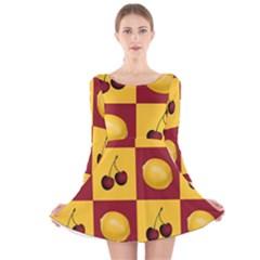 Fruit Pattern Long Sleeve Velvet Skater Dress by AnjaniArt
