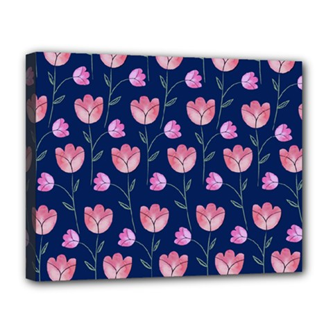 Flower Tulip Floral Pink Blue Canvas 14  X 11  by AnjaniArt