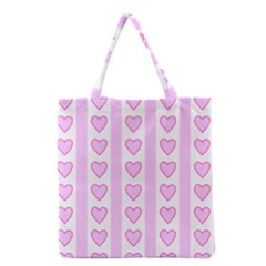 Heart Pink Valentine Day Grocery Tote Bag by AnjaniArt