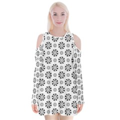 Holidaycandy Overlay Velvet Long Sleeve Shoulder Cutout Dress