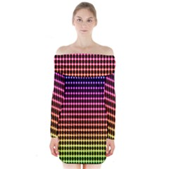Halftone Pattern Rainbow Long Sleeve Off Shoulder Dress by AnjaniArt