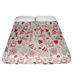 Heart Surface Kiss Flower Bear Love Valentine Day Fitted Sheet (queen Size) by AnjaniArt