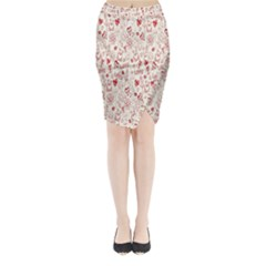 Heart Surface Kiss Flower Bear Love Valentine Day Midi Wrap Pencil Skirt by AnjaniArt