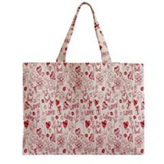 Heart Surface Kiss Flower Bear Love Valentine Day Medium Tote Bag by AnjaniArt