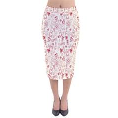 Heart Surface Kiss Flower Bear Love Valentine Day Velvet Midi Pencil Skirt by AnjaniArt