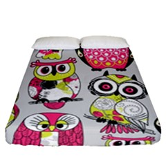 Illustration Seamless Colourful Owl Pattern Fitted Sheet (queen Size) by AnjaniArt