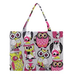 Illustration Seamless Colourful Owl Pattern Medium Tote Bag by AnjaniArt