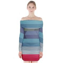 Line Light Stripes Colorful Long Sleeve Off Shoulder Dress by AnjaniArt