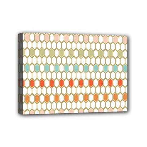 Lab Pattern Hexagon Multicolor Mini Canvas 7  X 5