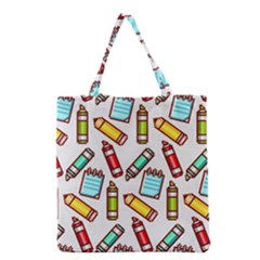 Seamless Pixel Art Pattern Grocery Tote Bag by Amaryn4rt