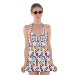 Seamless Pixel Art Pattern Halter Swimsuit Dress by Amaryn4rt