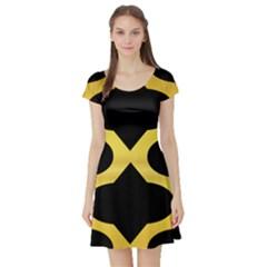 Seamless Gold Pattern Short Sleeve Skater Dress by Amaryn4rt